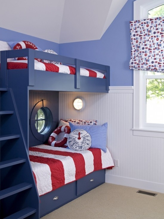 Beautiful Chambre Bleu Marine Et Rouge Contemporary - Design ...