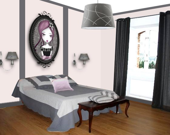chambre ado mauve et gris avec des id es int ressantes pour la conception de la. Black Bedroom Furniture Sets. Home Design Ideas
