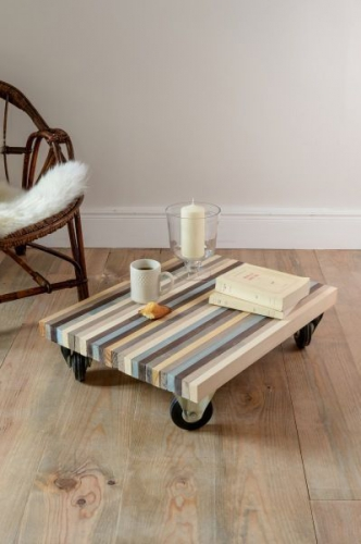 décoration, DIY, planches, roulettes, table basse