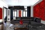 canapé, contemporain, couleur, design, meubles, moderne, noir, rideaux, rouge, salon, salon contemporain, salon design, salon moderne, tableaux.