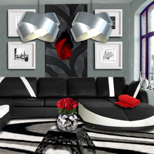 idee deco salon rouge blanc noir. Black Bedroom Furniture Sets. Home Design Ideas